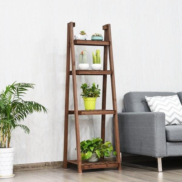 Wooden 4 Tier Ladder Book Shelf Stand Plant Flower Decoration Display Shelving