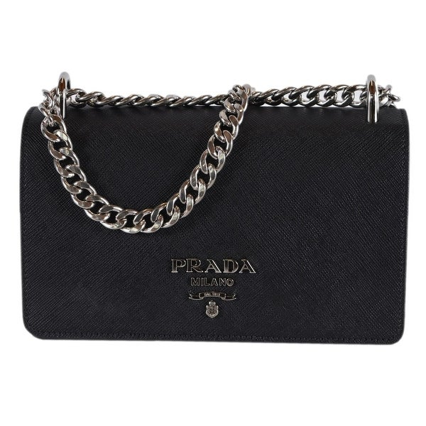 2e07321258efe1 Prada 1BD144 Pattina Soft Calf Saffiano Leather Crossbody Small Chain Purse  - Black