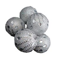 6 December Diamonds Silver Glittered Shatterproof Christmas Ball Ornaments 3.75""