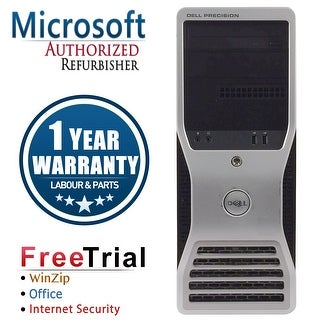 Refurbished Dell Precision T5500 Tower Xeon E5520 x2 2.26G 8G DDR3 750G DVD NVS290 Win 10 Pro 1 Year Warranty - Black