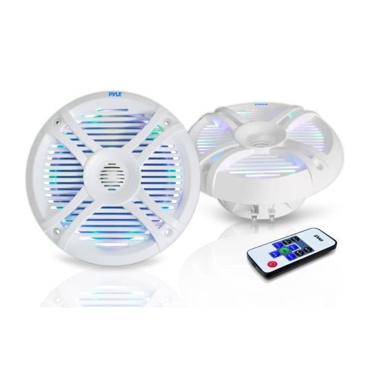 6.5'' Waterproof Audio Marine Grade Dual Speakers with Built-in Programmable Multi-Color LED Lights, 250 Watt, White