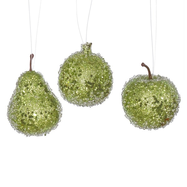 3ct Lime Green Beaded, Sequin and Glitter Pear, Apple and Pomegranate Fruit Christmas Ornaments