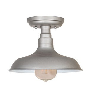 Design House 519876 Kimball 1-Light Dimmable Semi-Flush Ceiling Fixture in Galvanized Finish - n/a