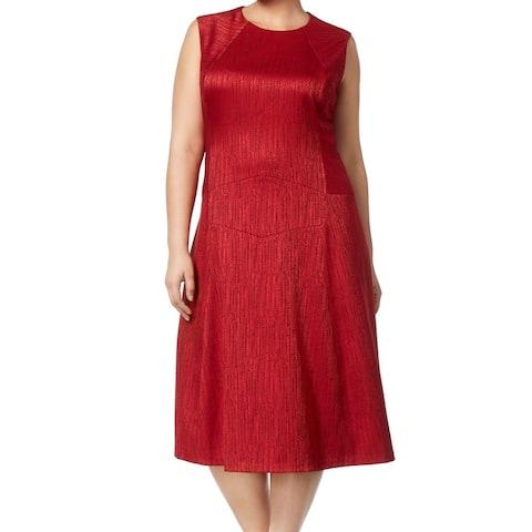 Anne Klein Fire Red Womens Size 18W Plus Jacquard Sheath Dress