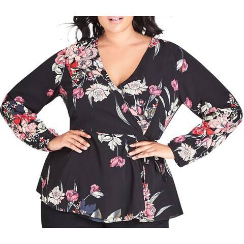 City Chic Womens Wrap Blouse Black Size 22W Plus Floral Print Crepe