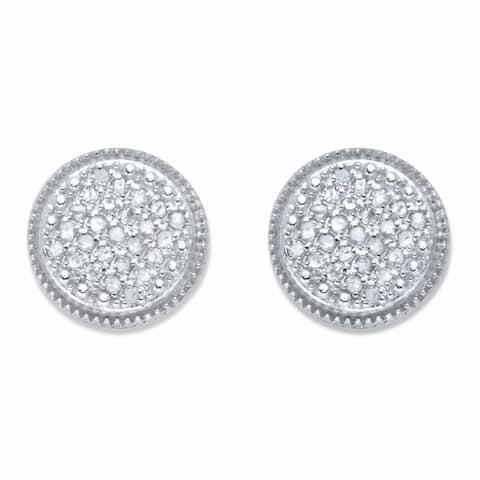 Platinum over Silver Round Genuine Diamond Cluster Stud Earrings