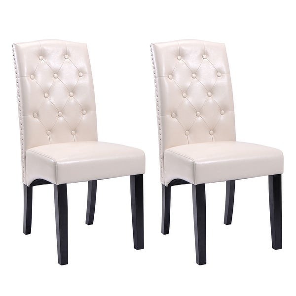 Set Of 2 Accent Kitchen Dining Chair Leather Wood Tufted: Shop Costway Set Of 2 Dining Chairs PU Leather Tufted