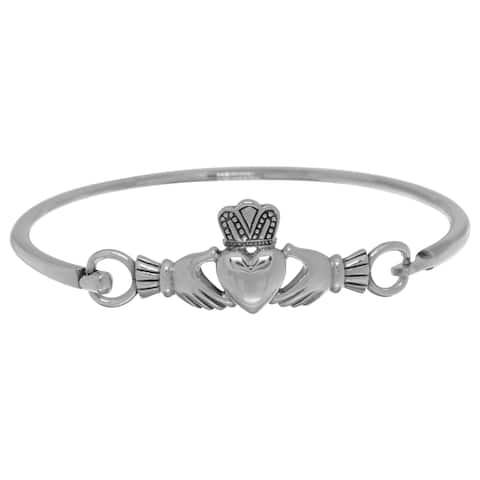 Sterling Silver Celtic Irish Heart in Hands Claddagh Bangle Bracelet