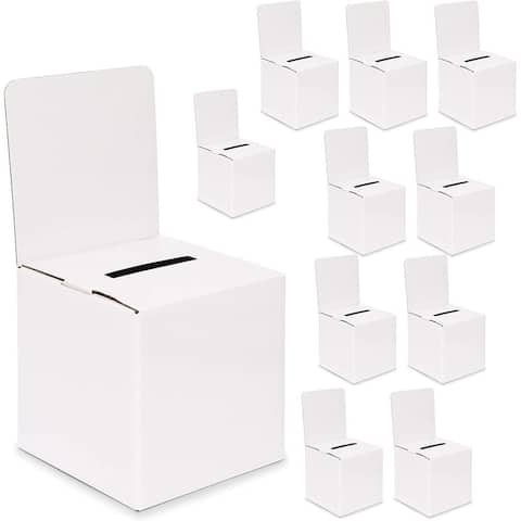 10-Pack Ballot Box for Voting Raffles Donations with 3 Blank Sticker Sheets