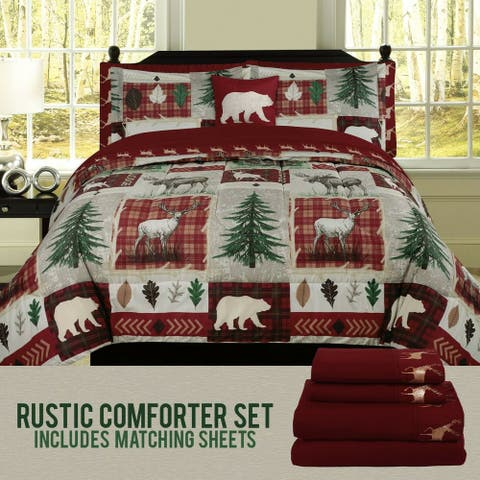 Multipiece Bed in a Big Rustic Cabin Quilt Set King