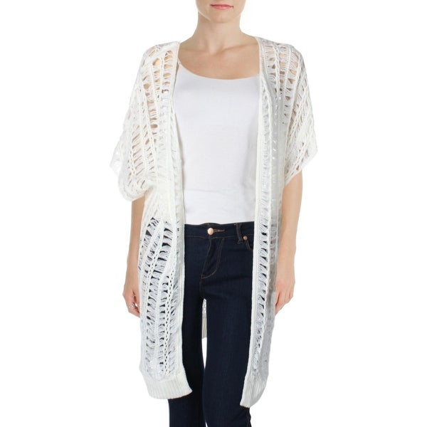 Ultra Flirt Womens Juniors Cardigan Sweater Open Stitch Short Sleeves