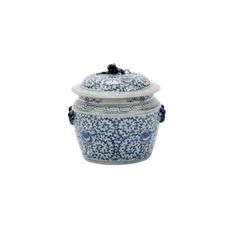 Handmade Lidded Rice Floral Motif Decorative Jar