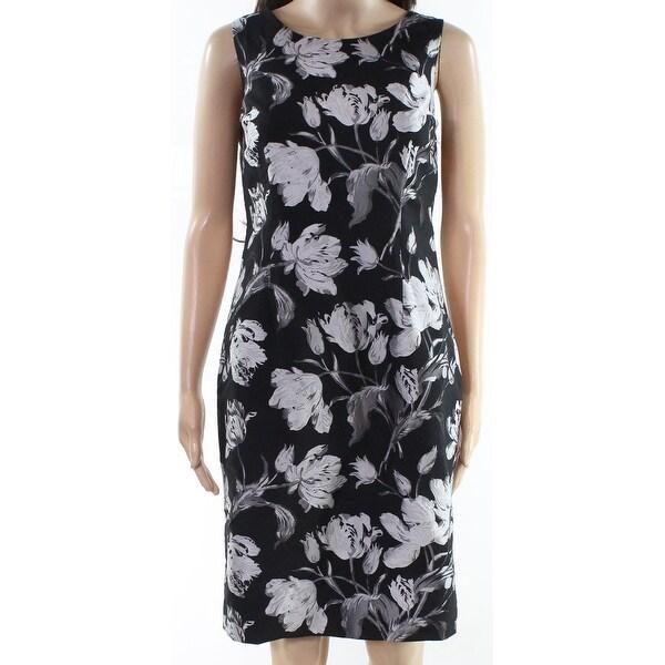 Kasper Black Gray Womens Size 4 Blossom Floral Print Sheath Dress