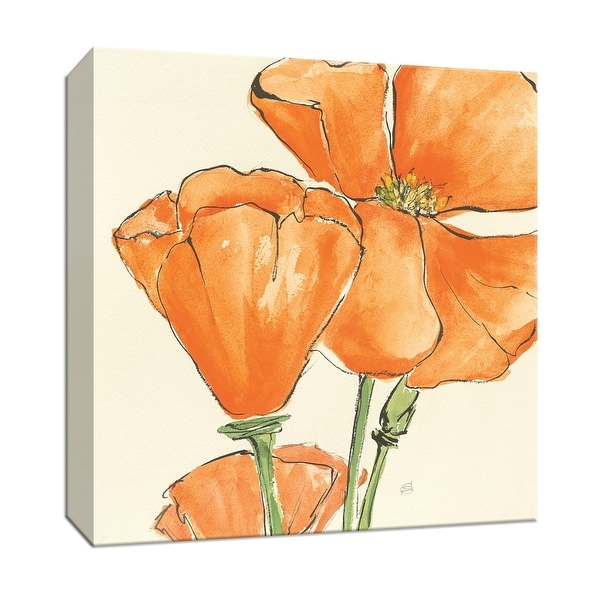 """PTM Images 9-153274 PTM Canvas Collection 12"""" x 12"""" - """"Sunshine Poppy III"""" Giclee Flowers Art Print on Canvas"""
