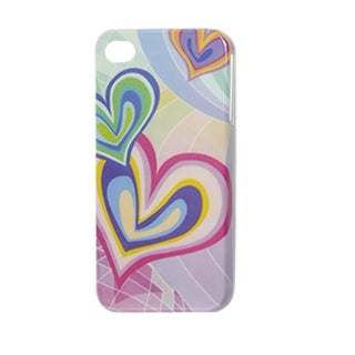 Unique Bargains Multi Color Hearts Smooth IMD Hard Back Case iPhone 4 4G