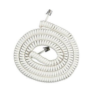 25 Foot White Coil Cord 25 Ft. Handset Cord