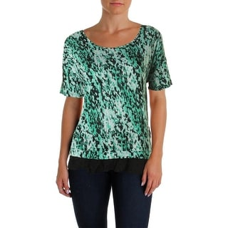 Pieces Womens Printed Lace Trim Pullover Top