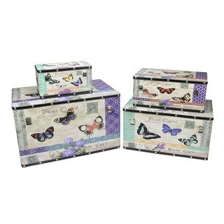 Set of 4 Wooden Garden-Style Butterfly Decorative Storage Boxes 14-27.5""