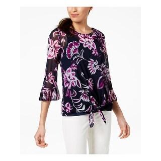 ALFANI Womens Navy Floral 3/4 Sleeve Jewel Neck Top  Size S