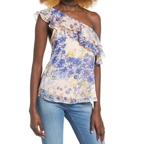 Leith Womens Large Floral One-Shoulder Chiffon Blouse