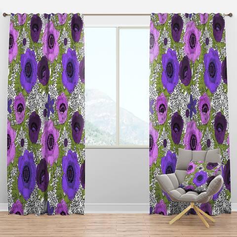 Designart 'Purple Retro Fantasy Flowers' Mid-Century Modern Blackout Curtain Panel