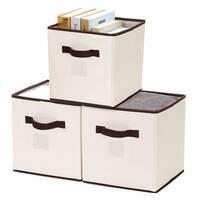 StorageWorks Storage Cube Bin with Brown Trim, 3-Pack, Natural, Medium