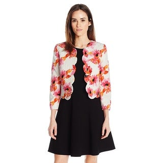 Kasper Printed Jacquard Scalloped Jacket Pink Perfection Multi