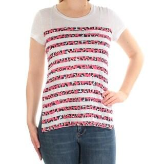 MICHAEL KORS Womens White Animal Print Short Sleeve Scoop Neck Top Petites Size: M