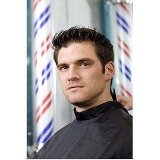 """Man getting haircut"" Poster Print"