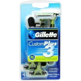 Gillette CustomPlus 3 Disposable Razors, Soothing 4 ea
