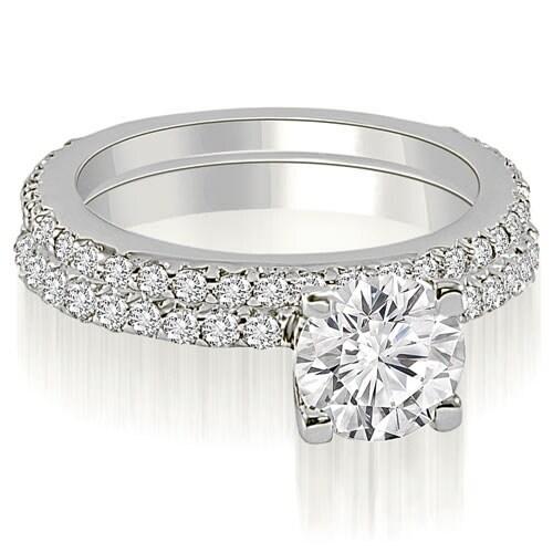 1.26 cttw. 14K White Gold Round Cut Diamond Bridal Set
