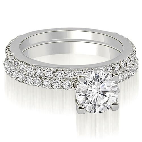 1.51 cttw. 14K White Gold Round Cut Diamond Bridal Set