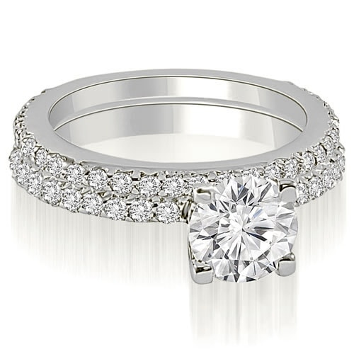 1.76 cttw. 14K White Gold Round Cut Diamond Bridal Set