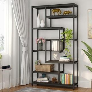 Link to 8-Shelves Staggered Bookshelf Industrial Etagere Bookcase - Black Similar Items in Bookshelves & Bookcases