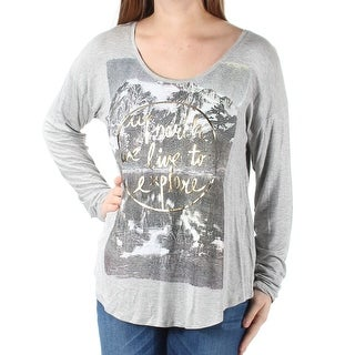 Womens Gray North Explore Long Sleeve Scoop Neck T-Shirt Top Size M