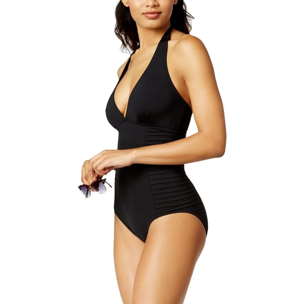 90a2c1a132 Shop Calvin Klein Womens Plunge Pleated One-Piece One-Piece Swimsuit - 4 -  Free Shipping Today - Overstock - 22390610