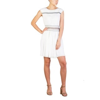 Prada Women's Acetate Viscose Blend Pleaded Dress White - 6