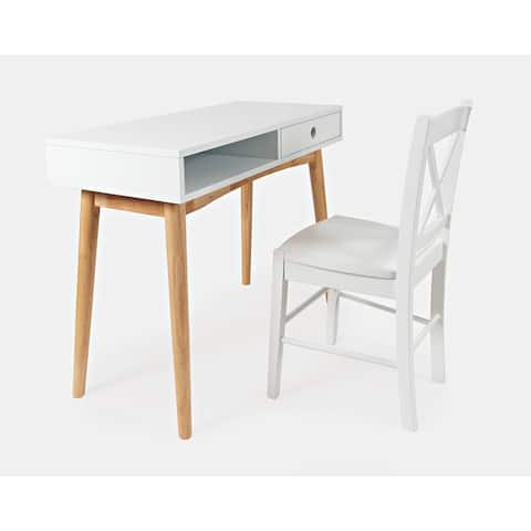 EZ-Style Modern White Desk and X-Back Chair Set by Jofran