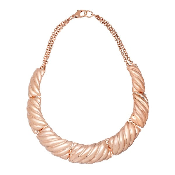 Hinged Plate Necklace in 18K Rose Gold-Plated Bronze - Pink