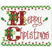 "2""X3""  - Merry Christmas Ornament Counted Cross Stitch Kit"