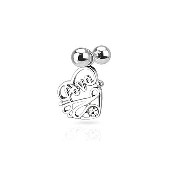 Piercing Stud with CZ Love Heart Dangle Tragus/Cartilage 316L Surgical Steel (Sold Ind.)