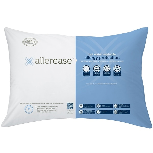 AllerEase Hot Water Washable Pillow, 2 Pack - White. Opens flyout.