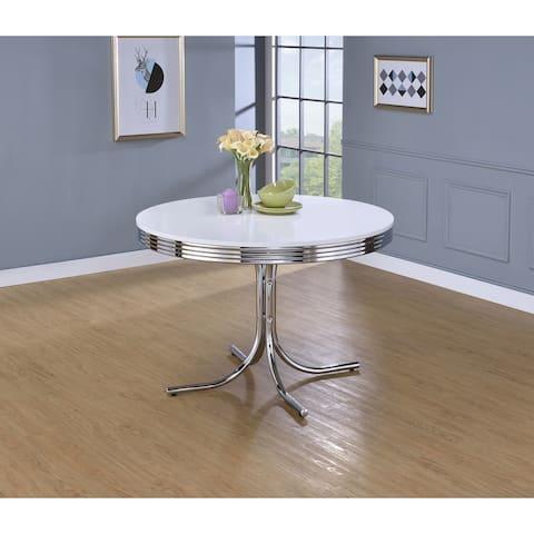 Marla White and Chrome Round Retro Table