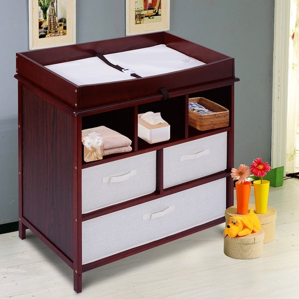 Costway Infant Baby Diaper Station Nursery Furniture Changing Table w/3 Baskets Storage Cherry