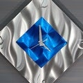 Statements2000 Blue / Silver 17-inch Metal Hanging Wall Clock - Spare Moment - Thumbnail 3
