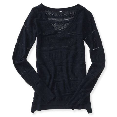Aeropostale Womens Open V Neck Knit Sweater