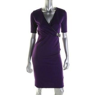 Ralph Lauren Womens Knit Contrast Trim Wear to Work Dress - XL