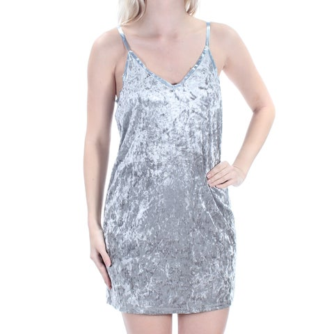 Womens Silver Spaghetti Strap Above The Knee Shift Cocktail Dress Size: S