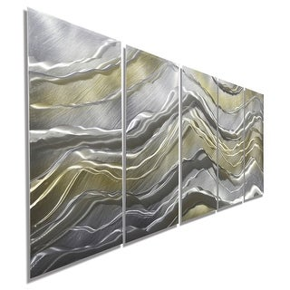 Statements2000 Silver & Gold Modern Abstract Metal Wall Art Sculpture by Jon Allen - Alternating Current