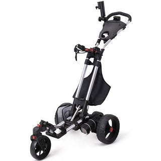 Costway Foldable Electric Golf Push Cart With Umbrella Holder Lithium Battery 120W - Black and Red